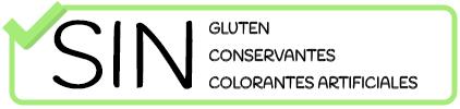 Sin gluten, sin conservantes, sin colorantes artificiales.